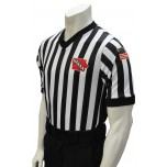 "Iowa (IHSAA) 1"" Stripe Body Flex Men's V-Neck Referee Shirt with Side Panels"