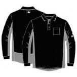 Majestic MLB Long Sleeve Umpire Shirt - Black with Charcoal Grey